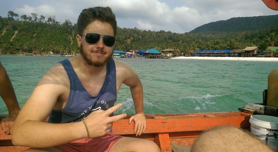 James experiencing his year abroad. James in the boat.